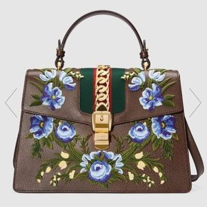 Gucci Sylvie Medium Floral Top Handle Tote NWT